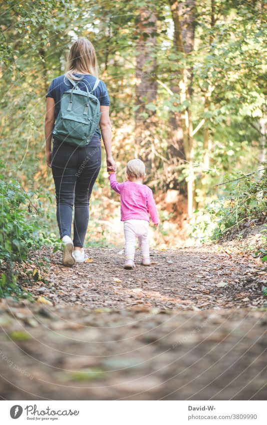 Mother and child taking an autumn walk Mother with child Autumn at the same time Considerate Forest Hand To hold on go for a walk mama Daughter Toddler