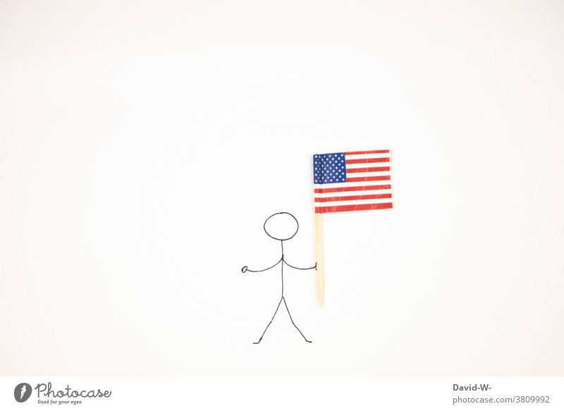 Stick man with American flag in hand patriotic Americas USA Flag Stick figure National American Flag Man To hold on