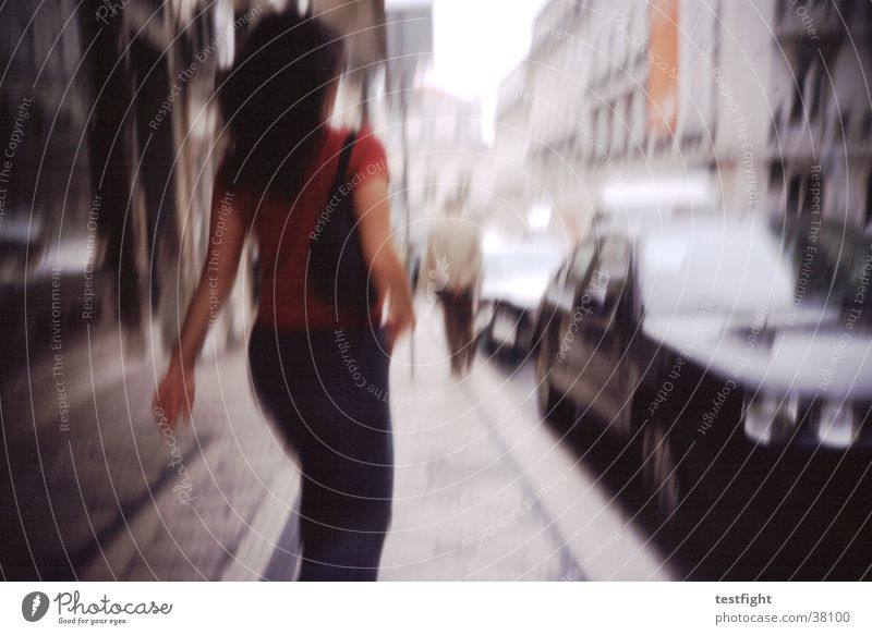 no title Blur Town Lisbon Sidewalk Fatigue Speed Photographic technology Human being Street Movement motion hurry up in hurry almost Haste