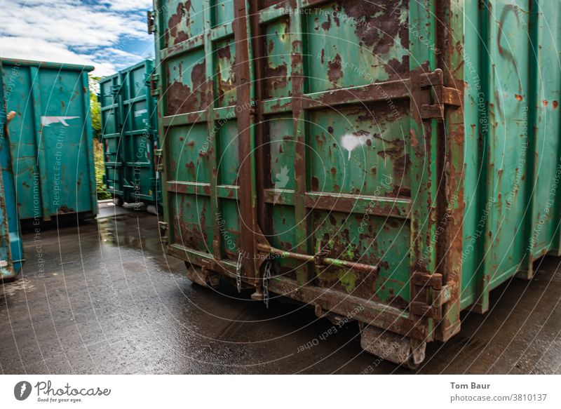 rusty transport containers Container Transport rusty metal Logistics Metal Industry Exterior shot Colour photo Trade Deserted Blue Navigation Harbour