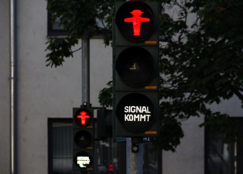 Red traffic light, signal comes for pedestrians Traffic light Mobility Traffic infrastructure Pictogram Illuminate Pedestrian traffic light ampelmännchen Signal