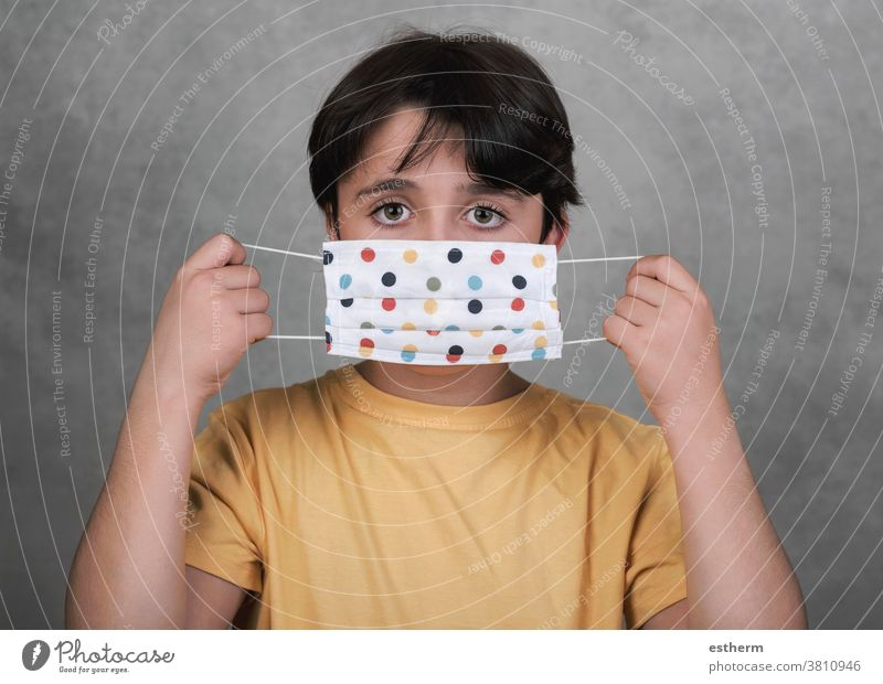 Coronavirus,close-up of kid wearing homemade mask coronavirus child epidemic 2019-ncov medical mask pandemic quarantine covid-19 symptom surgical mask breath