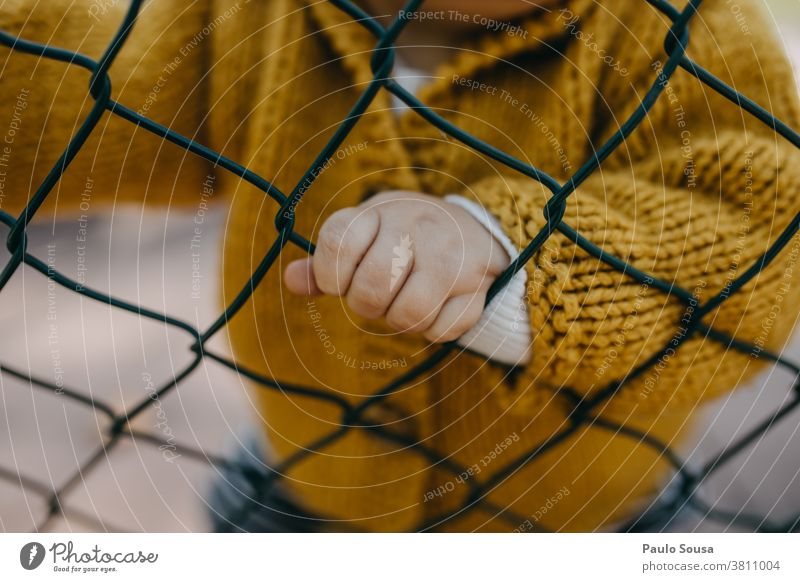 Close up child hand on the fence Fence Barrier Child childhood Toddler body part Close-up Hand Kindergarten Boy (child) 1 - 3 years Fingers Human being
