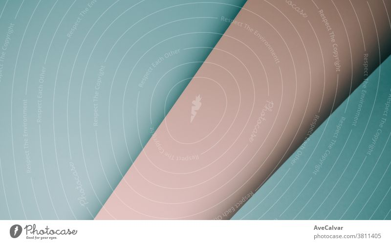 Pink and blue pastel flat lay background with sharp layers and shadows with copy space gender concepts contrasts horizontal ideas imagination ornate university