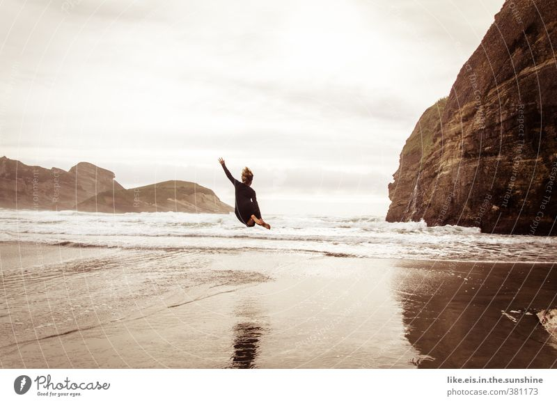 Human being Woman Nature Youth (Young adults) Ocean Landscape Joy Young woman Beach Adults Environment Life Sports Feminine Coast Freedom