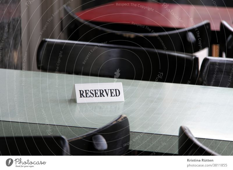 reserved sign on a table Table Reserved Restaurant Café table reservation Reservation Tabletop Places seat chairs tables Gastro Gastronomy resopal occupied