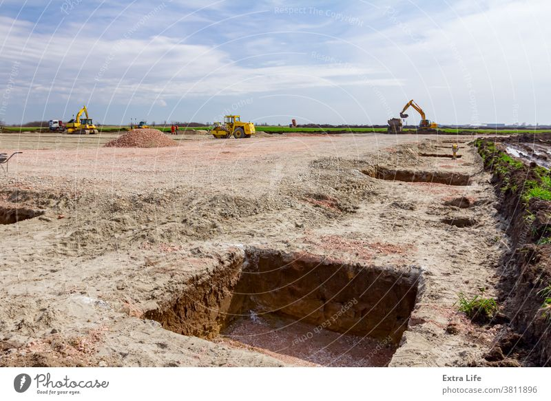 Lined square trenches at construction site Alignment Area Base Building Site Civil Engineering Down Earth Earthwork Foundation Frame Gravel Ground Hole