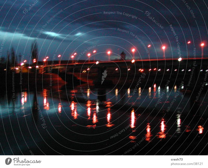 river & lights Light Night Croatia Europe River Bridge Water osijek out