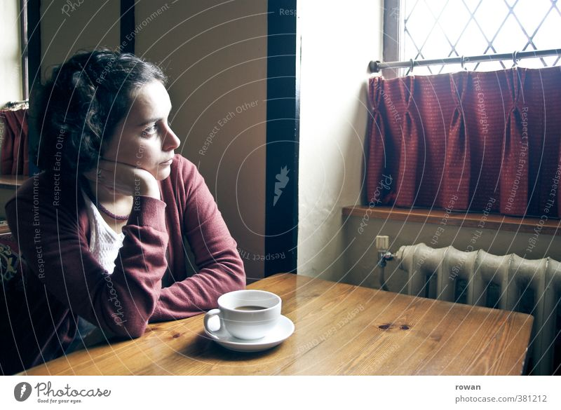 Thoughtful Table Restaurant Drinking Human being Feminine Young woman Youth (Young adults) Woman Adults 1 Sit Gloomy Moody Calm Boredom Lovesickness Fatigue