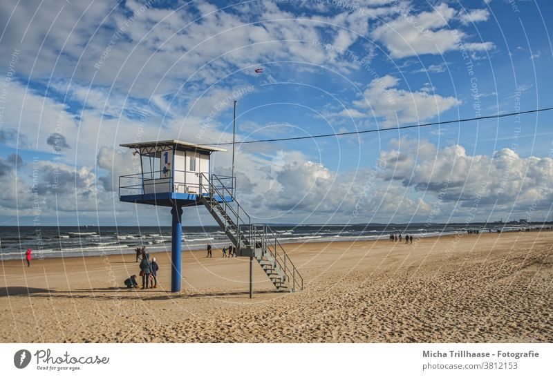 Rescue tower at the Baltic Sea beach Baltic beach rescue tower Island Usedom Ahlbeck Ocean Beach Sand Water Waves Lifeguard people Tourism Tourists travel