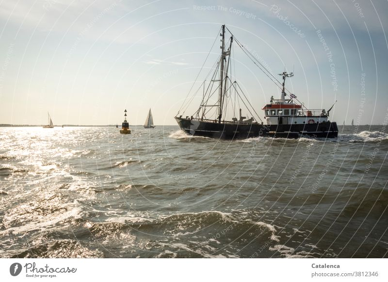 A fishing cutter, the danger buoy, sailing yachts on the Wadden Sea can be seen Mud flats North Sea Ocean Cutter Fishing areas Water Sky Sailing Horizon