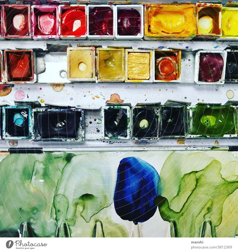 paintbox Painting (action, artwork) colors variegated Paintbox Watercolours watercolor brush ticking creatively Creativity Watercolors watercolours hobby