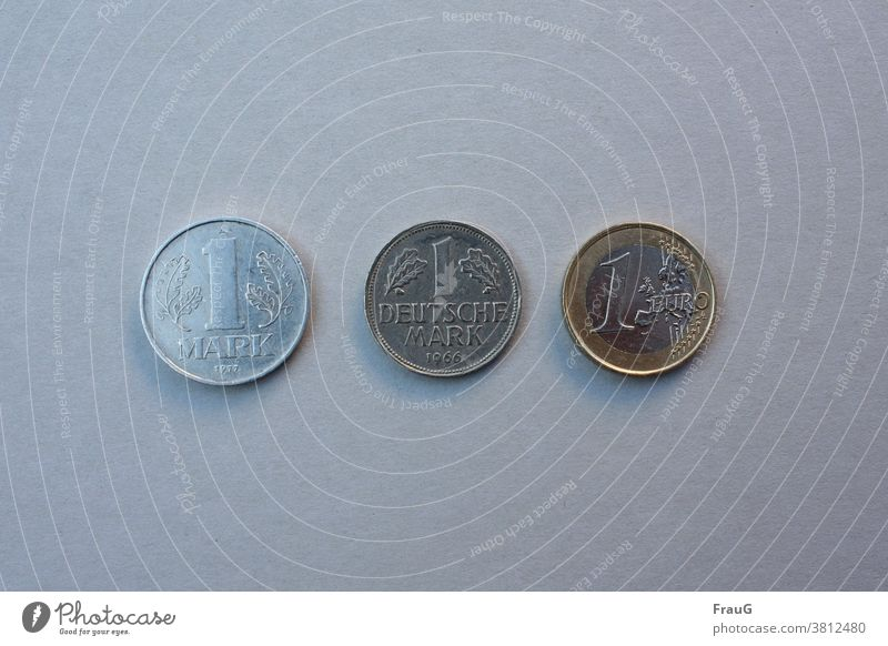 The Mark in the course of [contemporary history Coins Money Means of payment small change Loose change Hard cash Mark of the GDR German mark Euro Embossing
