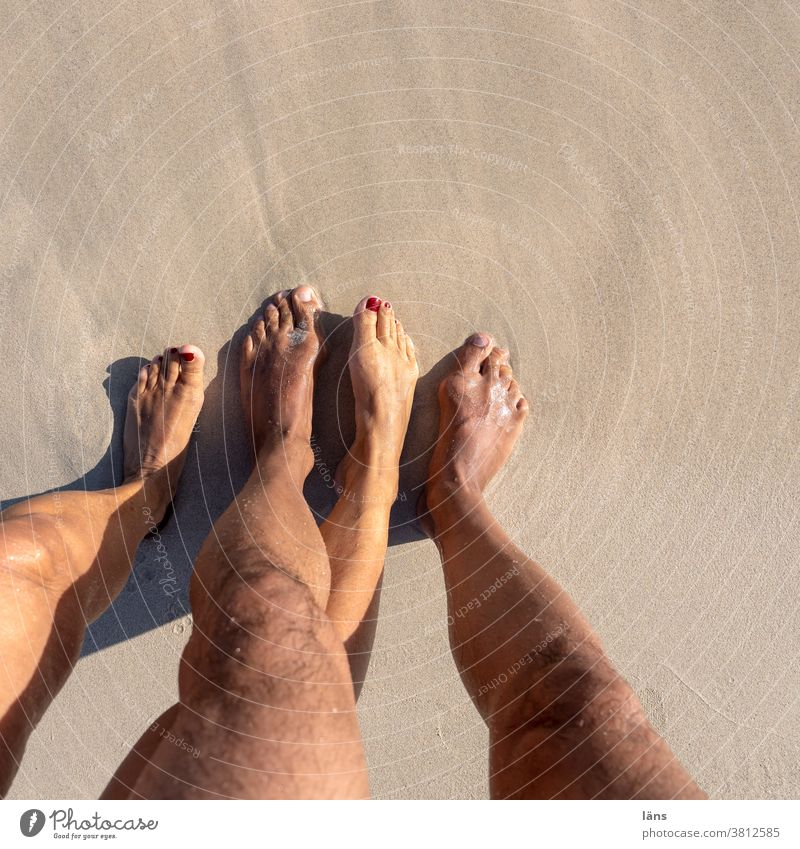 Couple Formation - Feet on the Beach feet Vacation & Travel pairing Barefoot Sand Human being Summer Legs coast Ocean Relaxation Woman Adults Man Nature