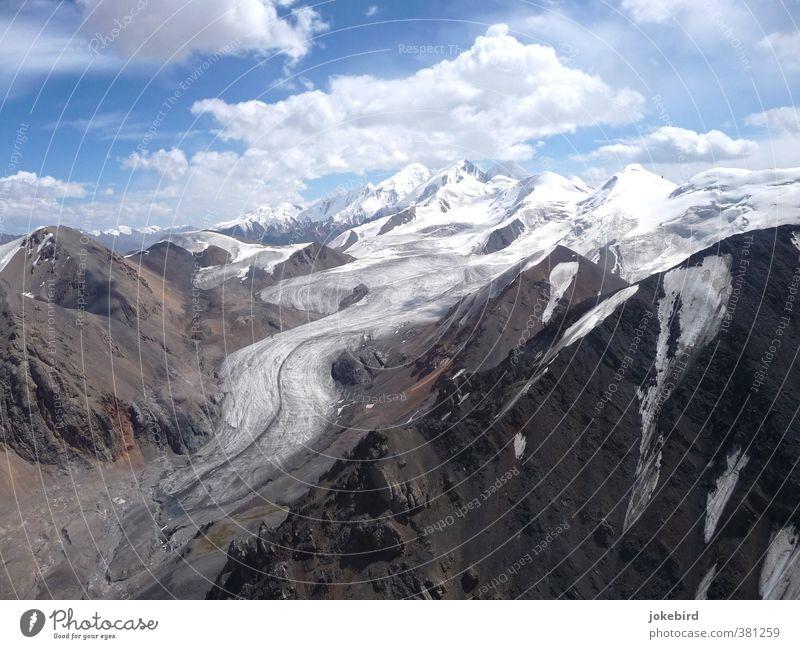 Nature Mountain Hiking Peak Snowcapped peak Mountaineering Climate change Glacier Kyrgyzstan Glacier tongue Moraine Tien Shan