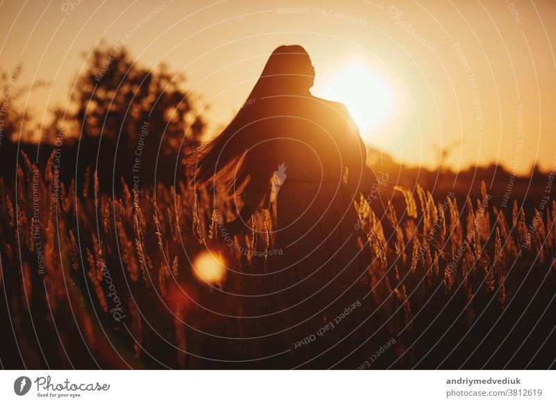 Young woman Girl in field in Sunset in spring, summer landscape background Springtime Summertime. Beautiful smiling woman in a field at sunset. selective focus