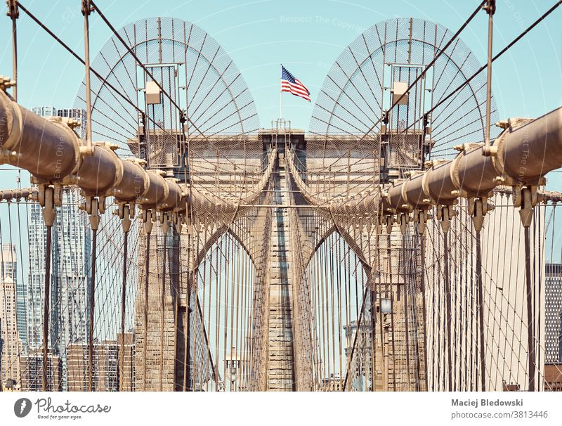 Close up picture of Brooklyn Bridge, New York City, USA. city landmark architecture sky close up urban America view day summer sunny travel destination