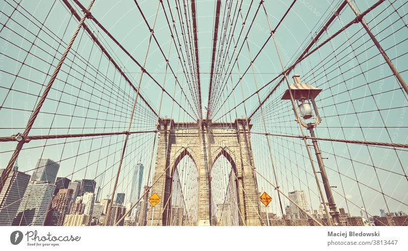 Retro toned picture of Brooklyn Bridge, New York City, USA. city vintage retro landmark Manhattan filtered architecture sky urban America view day summer sunny