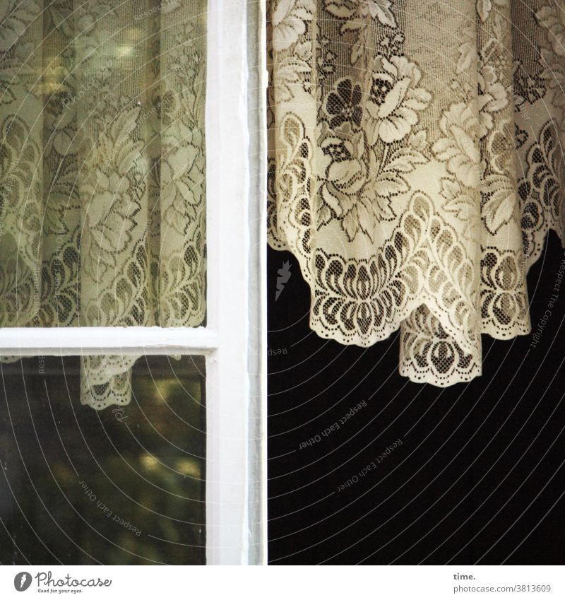grandma's pride Drape Curtain Window Window pane Open Ventilate Hang Historic nostalgically Former then oldstyle reflection Old building vintage Decoration