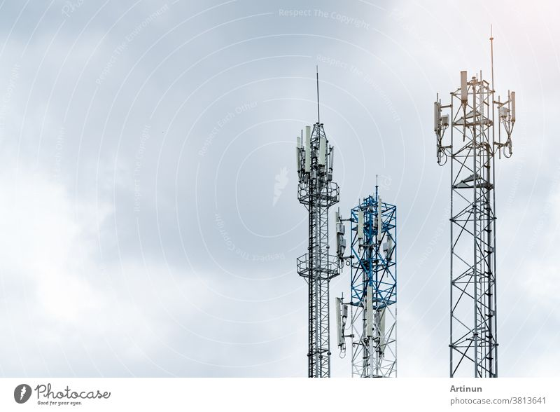 Telecommunication tower with gray sky. Antenna. Radio and satellite pole. Communication technology. Telecommunication industry. Mobile or telecom 4g network. Telecommunication industry.