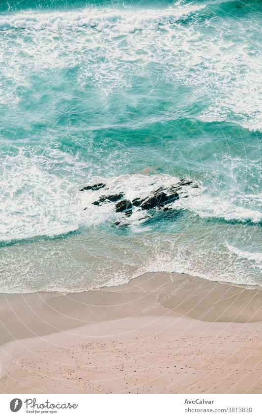 Aerial view of the waves on the beach drone water shore aerial sand above island ocean islands top bay peace happy mind free leisure freedom holiday seaside