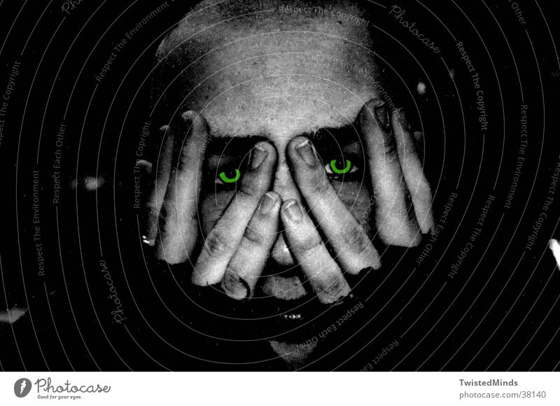 freaked Hand Man Eyes Face Fear Pain Search