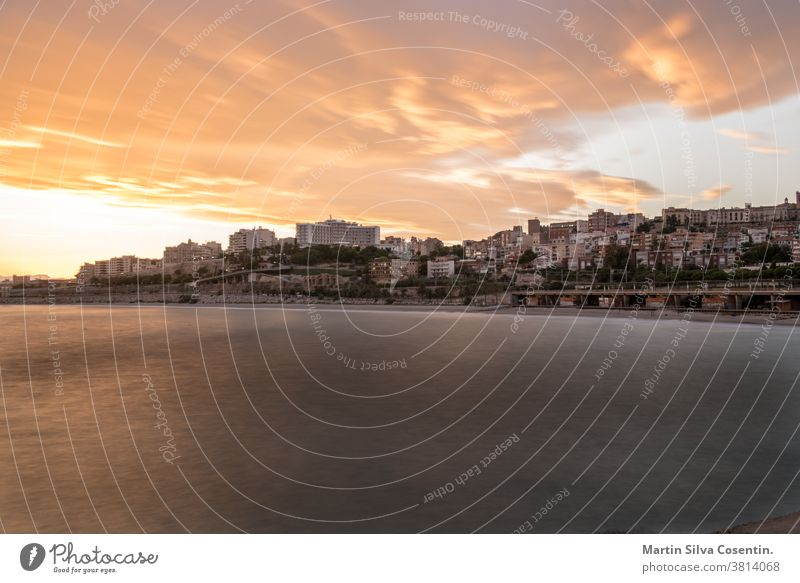 Beautiful sunny sunset in the city of Tarragona, in Catalonia, Spain in the summer of 2020. City Summer amphitheater amphitheatre ancient antique archaeological