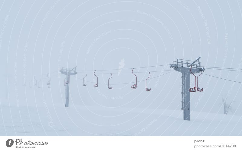 winter vacation chair lift Winter sports Vacation mood Snow winter holidays Winter vacation oberwiesenthal Mountain Slope
