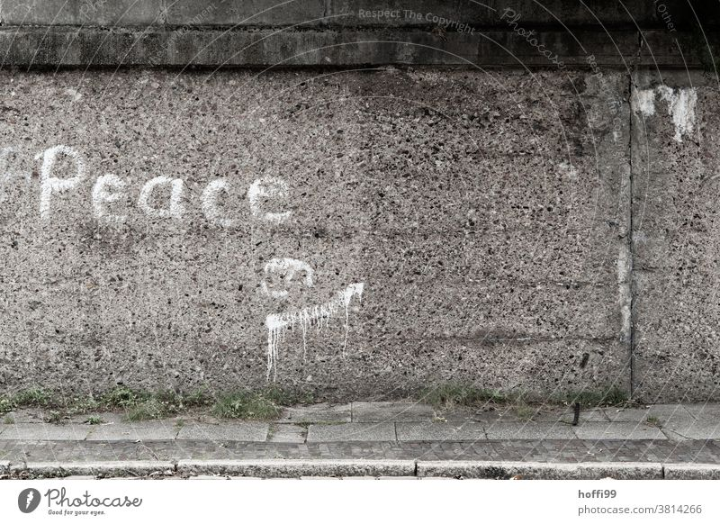 'Peace' lettering on rough concrete wall peace Word Daub Sign Letters (alphabet) Characters spraying sprayer Wall (barrier) Handwritten typographically