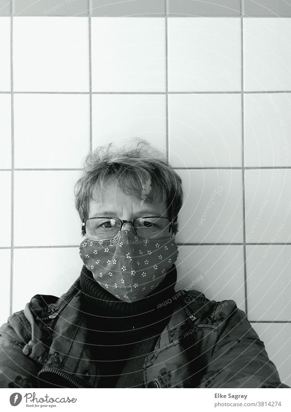 Self-portrait with mask Woman Face Human being Black & white photo Mask Eyes Looking corona
