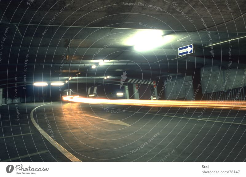 City Dark Architecture Concrete Gloomy Threat Parking garage Underground garage Strip of light