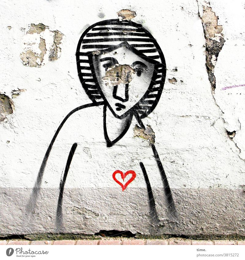 Art on building | Woman with heart graffiti Wall (barrier) Wall (building) Old Trashy Black Colour brushed Heart Flake off Street house wall Feminine Drawing