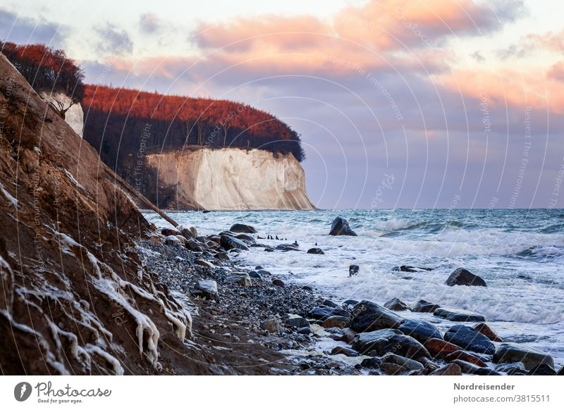 chalk cliffs in winter at the Baltic Sea Vacation & Travel Tourism Ocean Sun Winter vacation Elements Climate Beautiful weather Ice Frost coast Navigation Cold