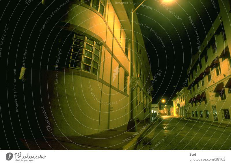 City Loneliness Street Dark Empty USA Miami Yellowness North America
