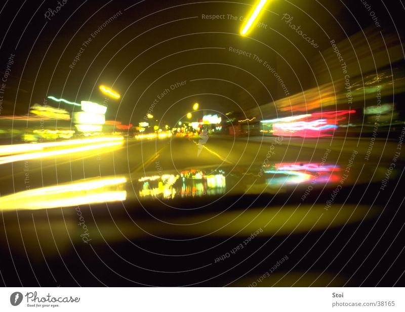 night ride Speed Night Town Los Angeles Motion blur Long exposure Transport Street USA light strip