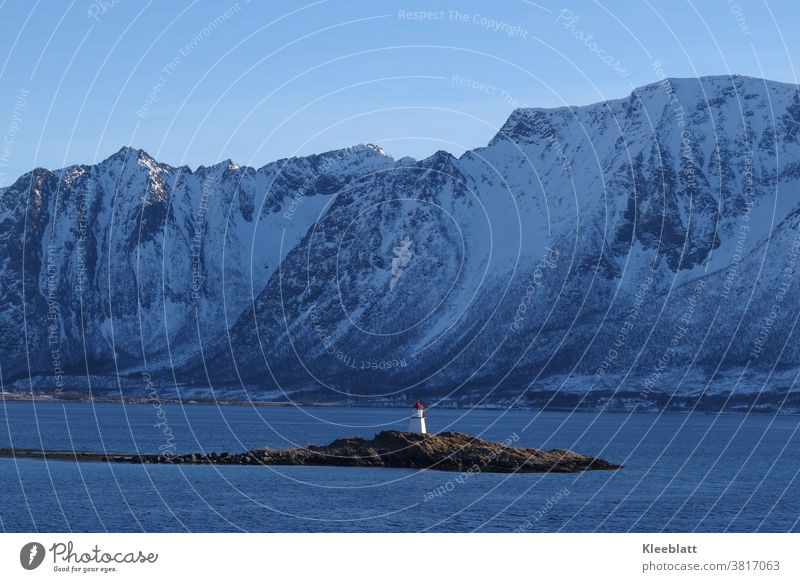 Norway - lighthouse on a small island Fjord mountain Snow Water Sky Scandinavia Vacation & Travel Exterior shot Relaxation Colour photo Idyll Lighthouse