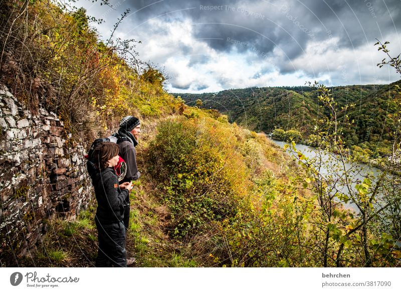 moselherbst Happy Lanes & trails hikers Exterior shot Nature Parents Child Man Boy (child) Hiking Father Son in common Environment Together Family & Relations