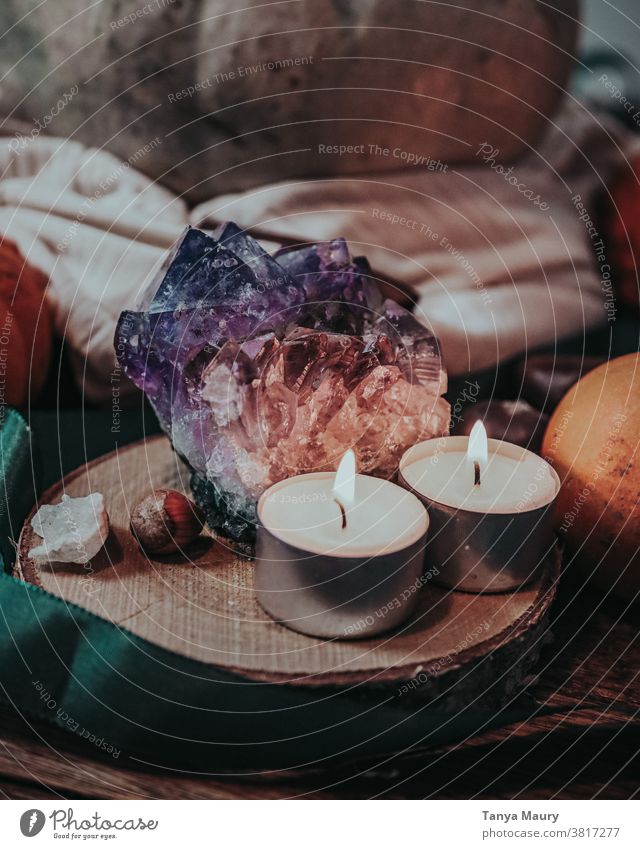 Amethyst stone with candles Stone Healing gem mineral Purple Beauty Photography semiprecious gemstone amethyst crystal amethyst gemstone amethyst stone Treasure