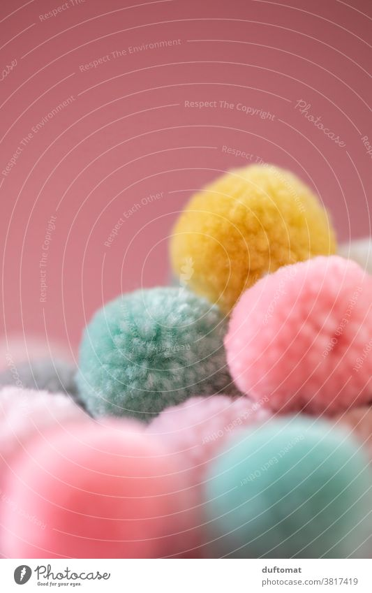 Close-up of pastel-coloured ponpons Ponpons soft Perspective bobble Pastel tone Background picture Soft Wool Ball of wool Wooly Handcrafts Leisure and hobbies