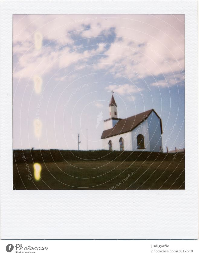 Polaroid of an Icelandic church Loneliness Building Exterior shot Deserted Colour photo Roof Window Moody Facade Wall (building) Blue Sky Meadow Church