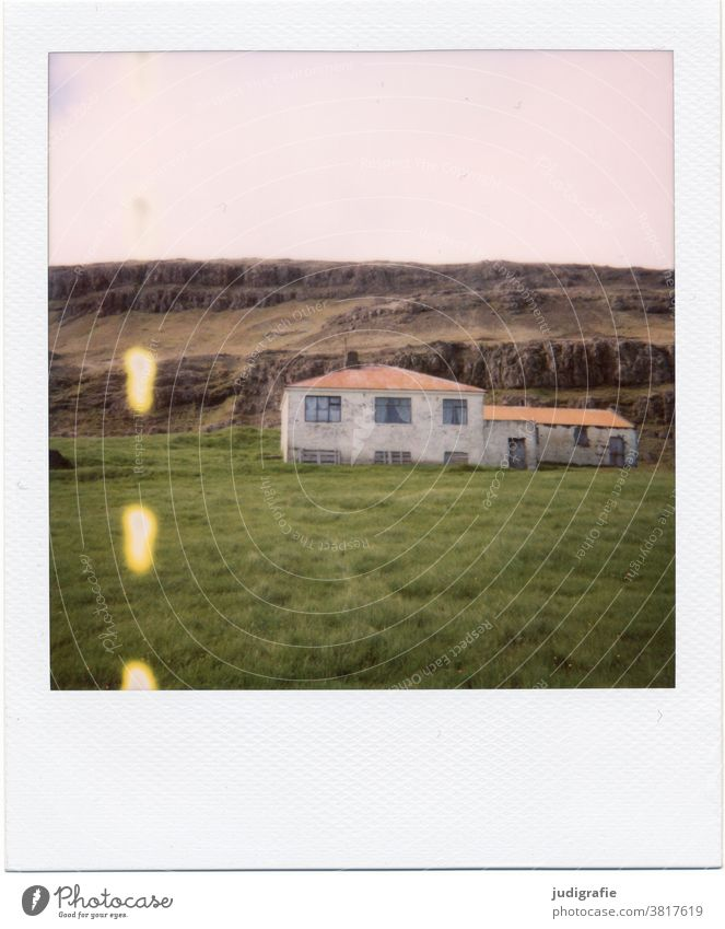 Polaroid of an Icelandic house House (Residential Structure) Landscape dwell Loneliness Building Exterior shot Deserted Colour photo Roof Window
