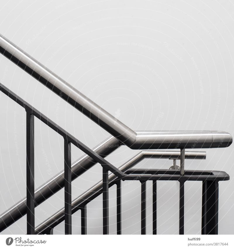 Stair railing, handrail and white wall Railing Banister Stairs Wall (building) Upward Minimalistic minimalism Simple Modern Staircase (Hallway) Downward