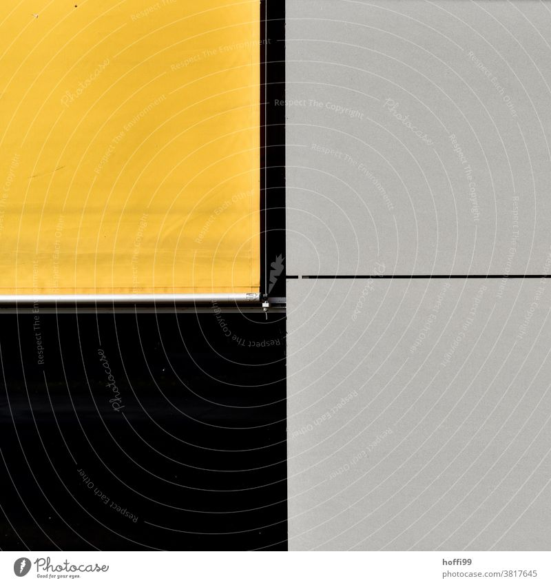 yellow roller blind with black and grey facade elements Roller blind minima minimalism Facade Cladding Architecture abstract background abstract design