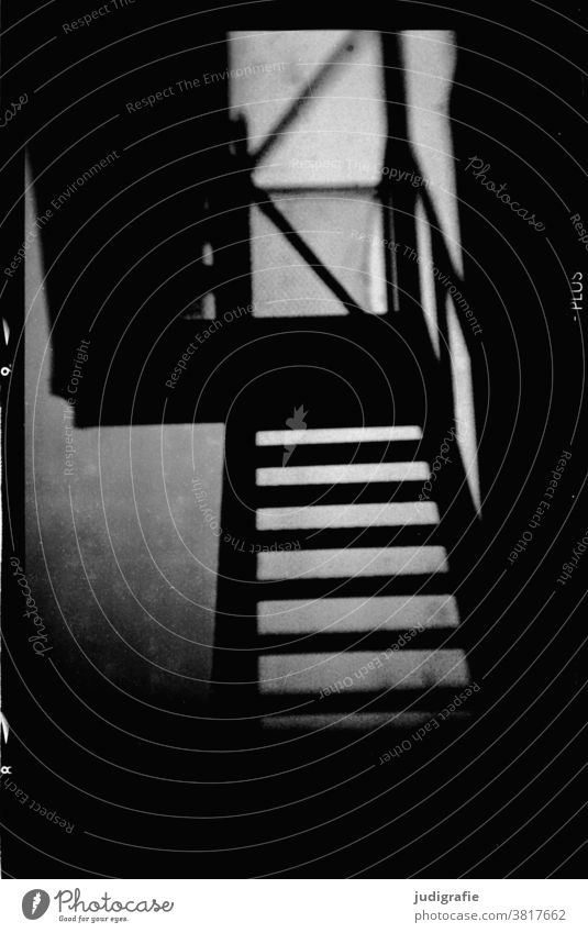 Analogue photo of a staircase Stairs stagger Black & white photo Eerie Dark Ambiguous Architecture Downward Upward rail Banister Building