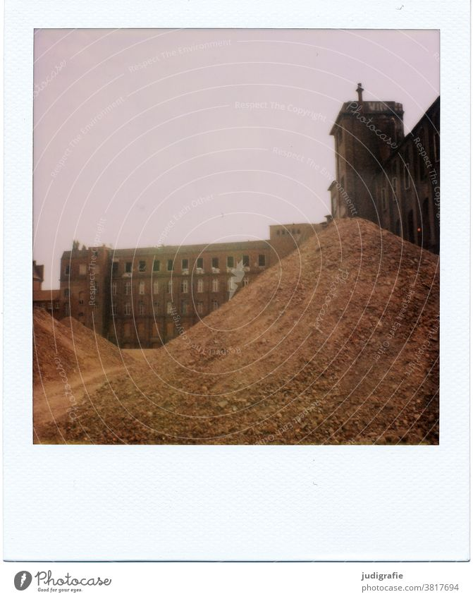Polaroid of an industrial ruin Industrial wasteland Industrial plant Building Architecture Ruin Building for demolition Ripe for demolition Trash heap Earth