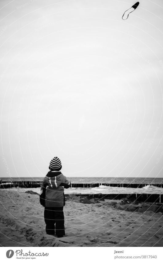 A child flying a kite on the beach by the sea Child Toddler kites Sky Ascending Dragon kites rise fly a kite Flying Wind Joy Infancy Autumn Beach Kite Air