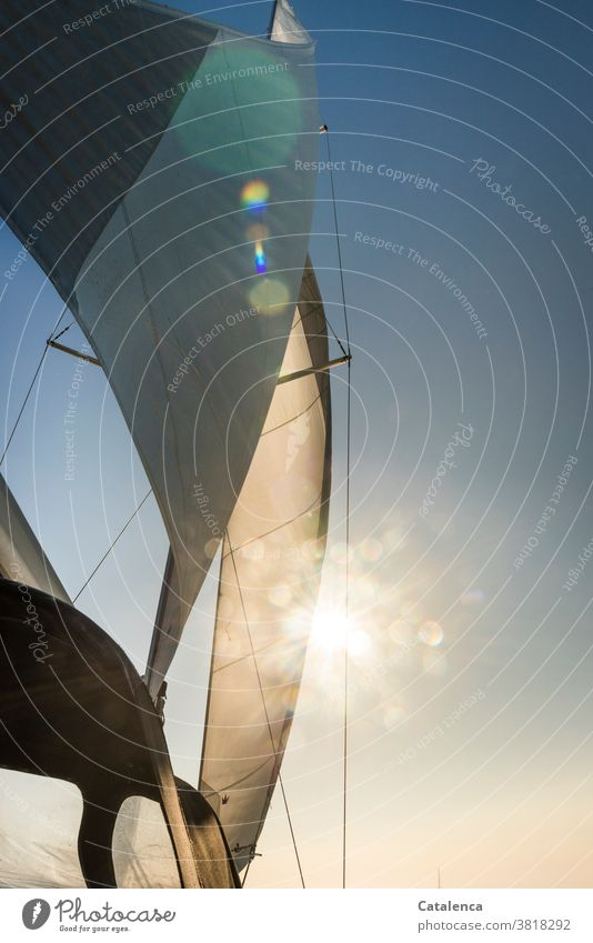 The sail of the yacht inflates in the wind and partially hides the sun Sail Pole Sailboat Wind Sailing Aquatics Sky Sun Sunbeam Blue White Day holidays Freedom
