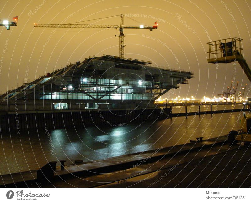 Spaceship under constructionH Night Long exposure Electrical equipment Technology Harbour Hamburg Elbe