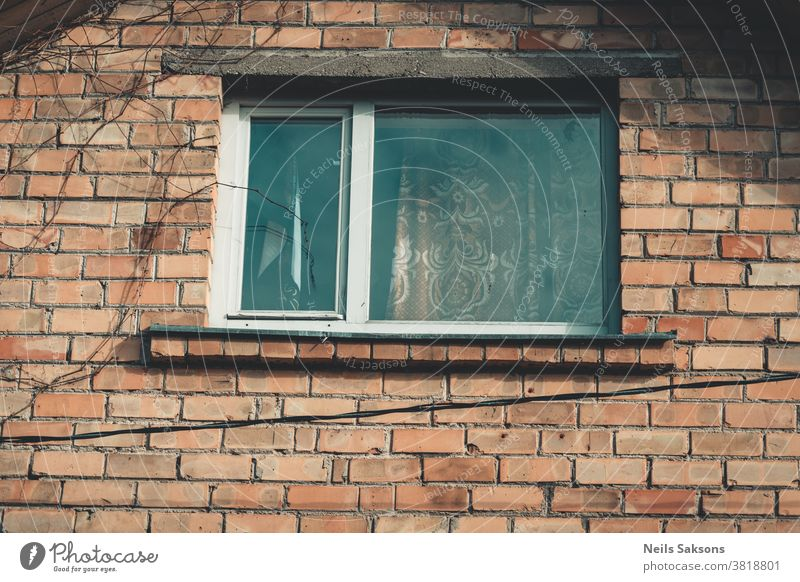 window of old brick house where I live double glazing wooden window apartment architecture athmospheric background bright building cosy countryside daylight