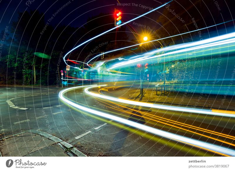 Bus in the night Evening Movement blink variegated Dynamics fantasy flicker Art Light Visual spectacle light track Line Fairy tale Night at night Nature